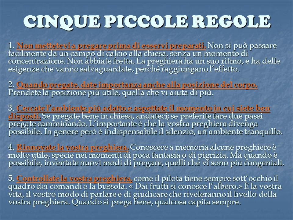 CINQUE PICCOLE REGOLE
