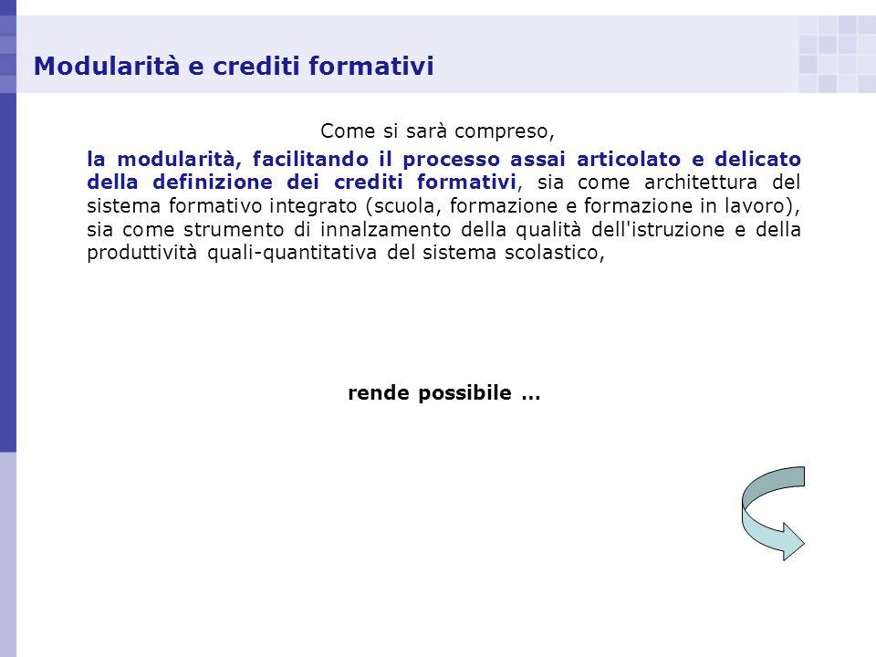 Modularità e crediti formativi