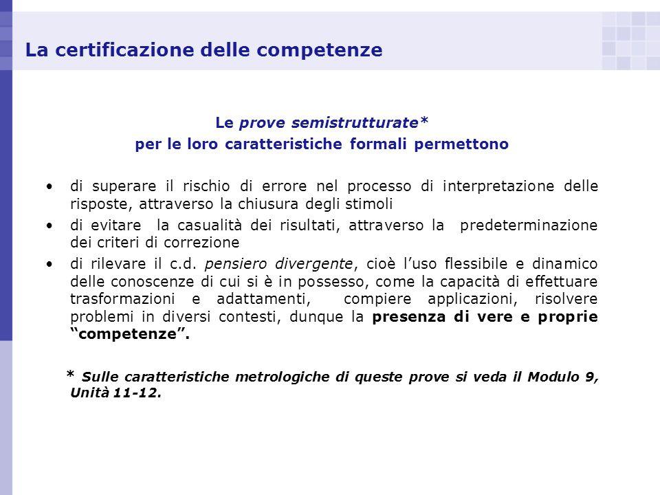 La certificazione delle competenze