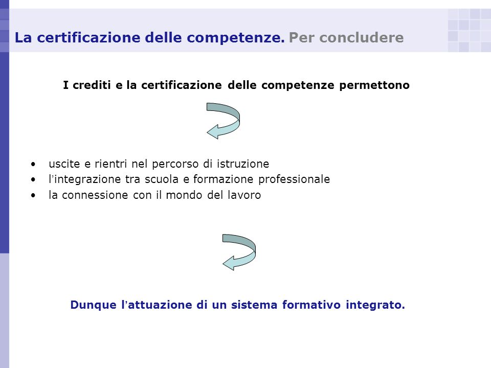 La certificazione delle competenze. Per concludere