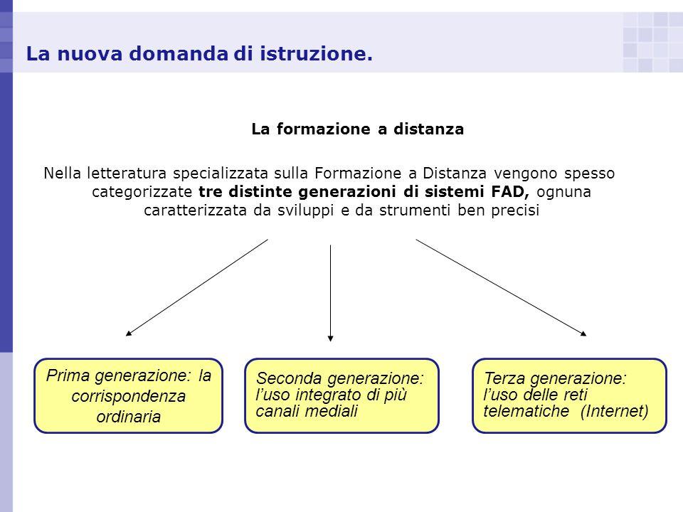 La nuova domanda di istruzione. La formazione a distanza