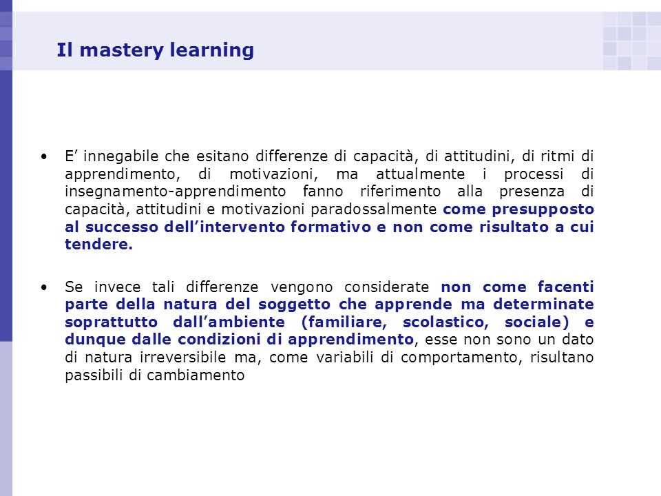 Il mastery learning
