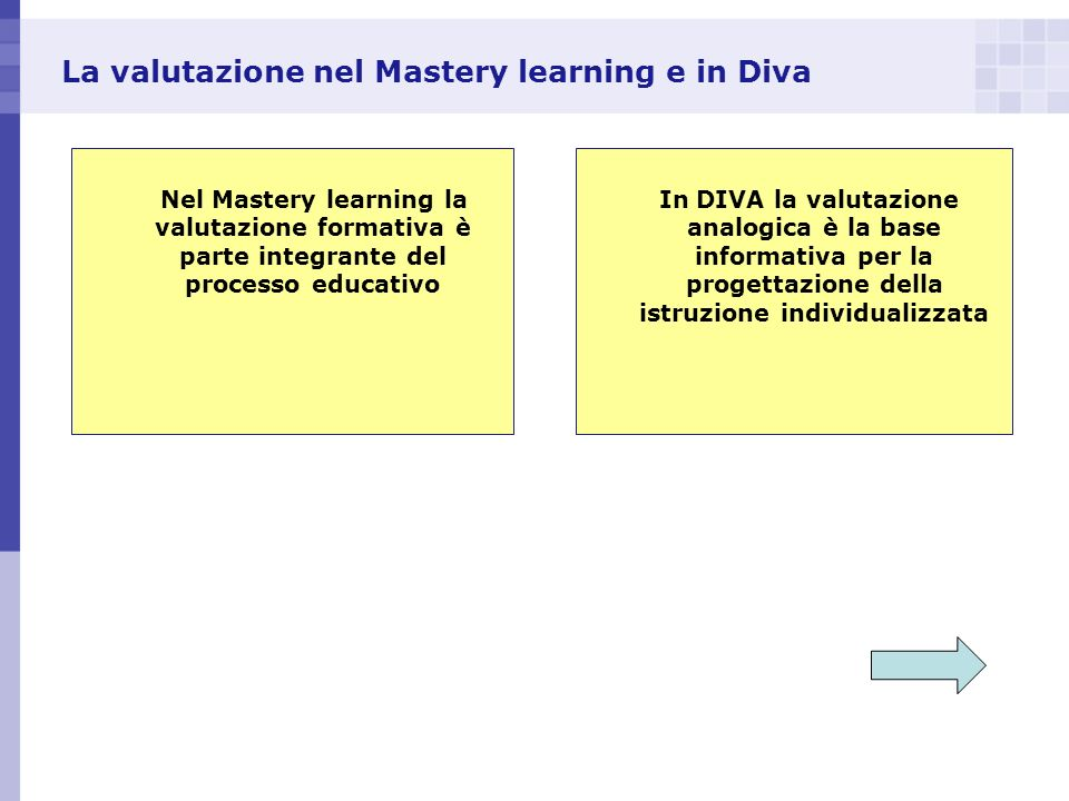 La valutazione nel Mastery learning e in Diva