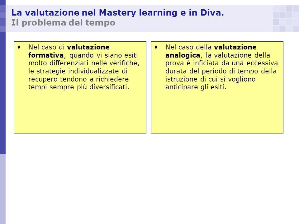 La valutazione nel Mastery learning e in Diva. Il problema del tempo