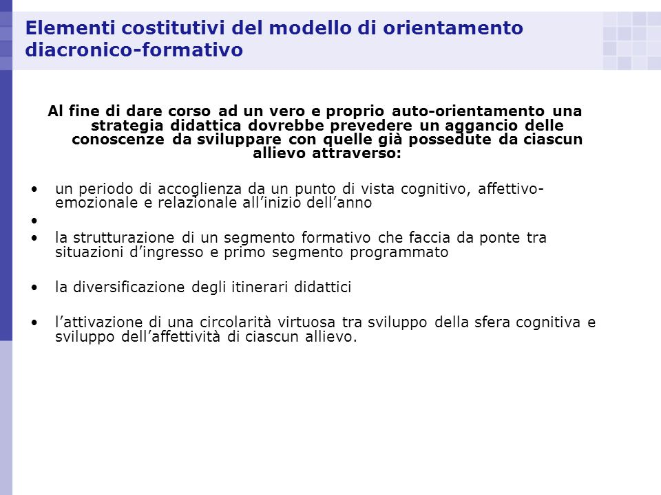Elementi costitutivi del modello di orientamento diacronico-formativo