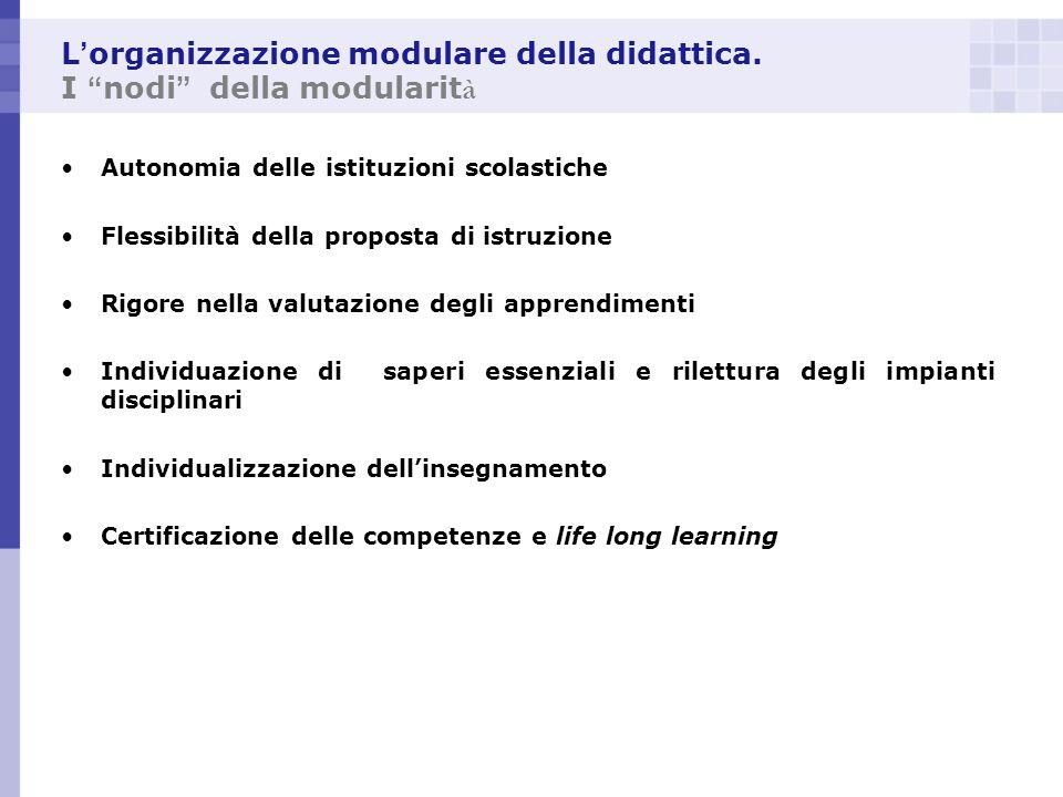 L'organizzazione modulare della didattica. I nodi della modularità