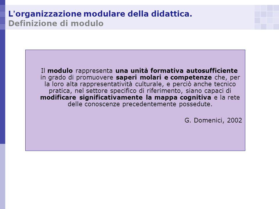 L'organizzazione modulare della didattica. Definizione di modulo