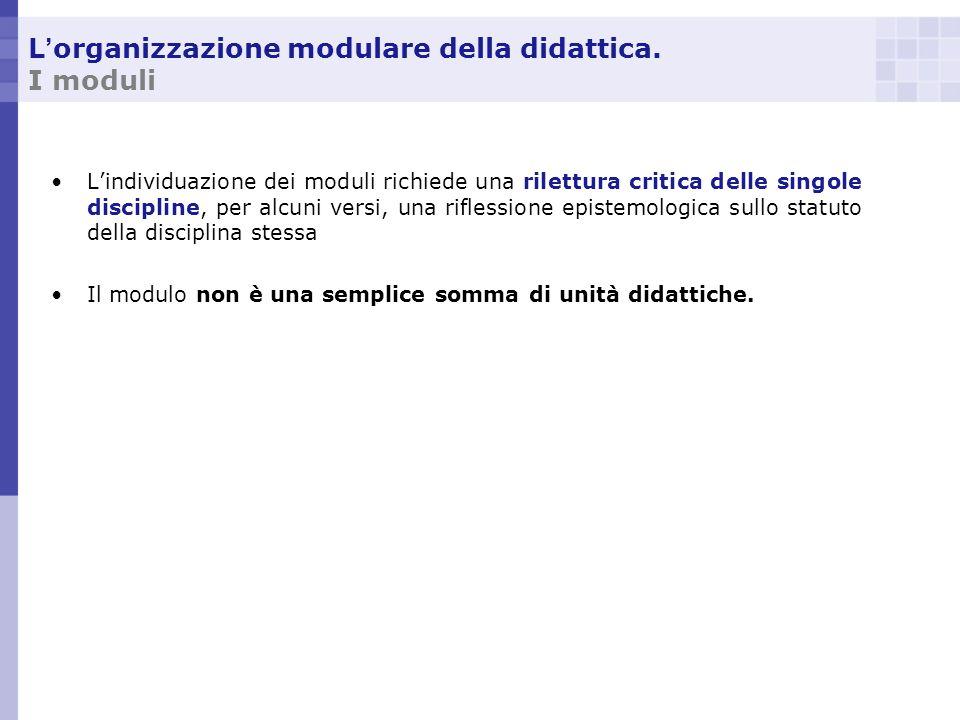 L'organizzazione modulare della didattica. I moduli