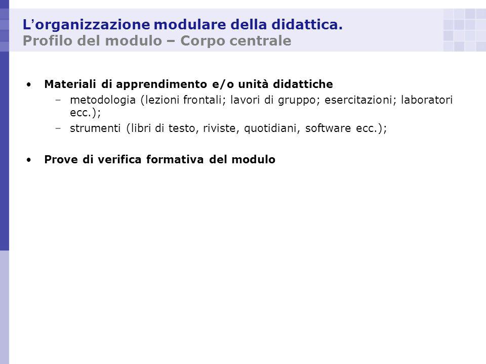 L'organizzazione modulare della didattica
