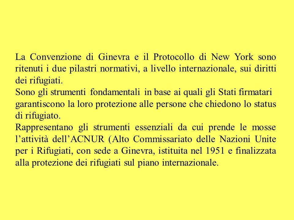 La Convenzione di Ginevra e il Protocollo di New York sono ritenuti i due pilastri normativi, a livello internazionale, sui diritti dei rifugiati.
