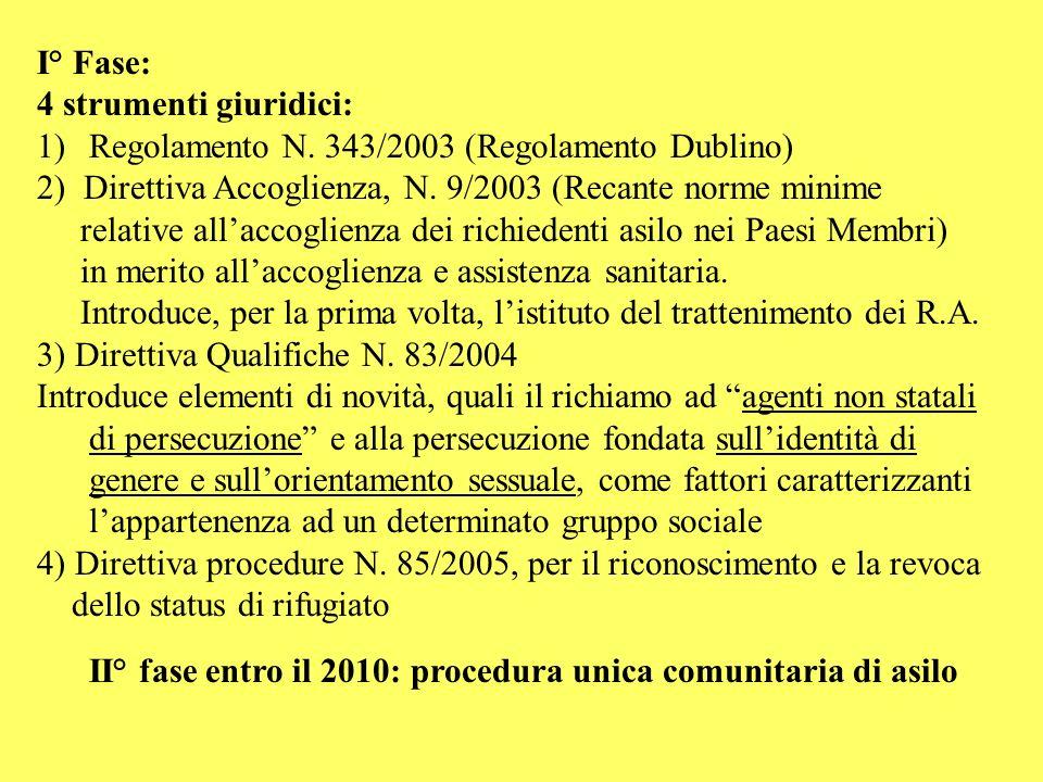 I° Fase: 4 strumenti giuridici: Regolamento N. 343/2003 (Regolamento Dublino) 2) Direttiva Accoglienza, N. 9/2003 (Recante norme minime.