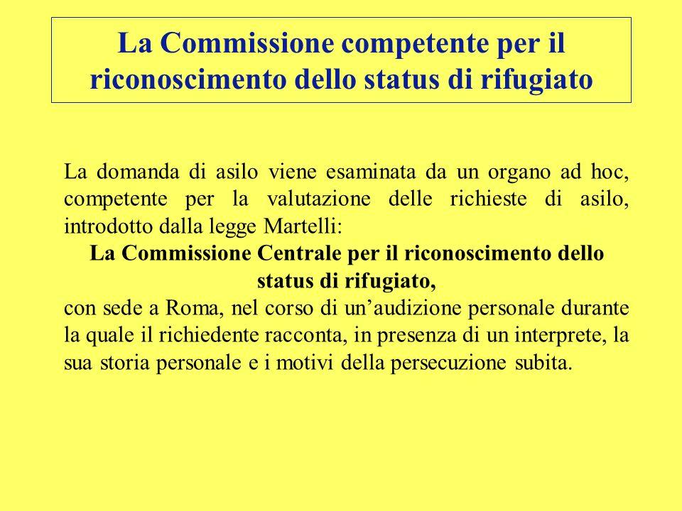 La Commissione competente per il riconoscimento dello status di rifugiato