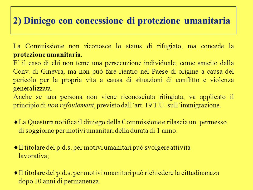 2) Diniego con concessione di protezione umanitaria
