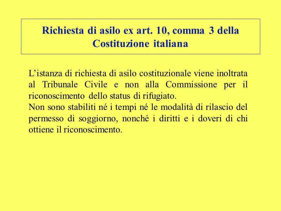 Richiesta di asilo ex art. 10, comma 3 della Costituzione italiana