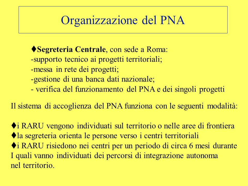 Organizzazione del PNA