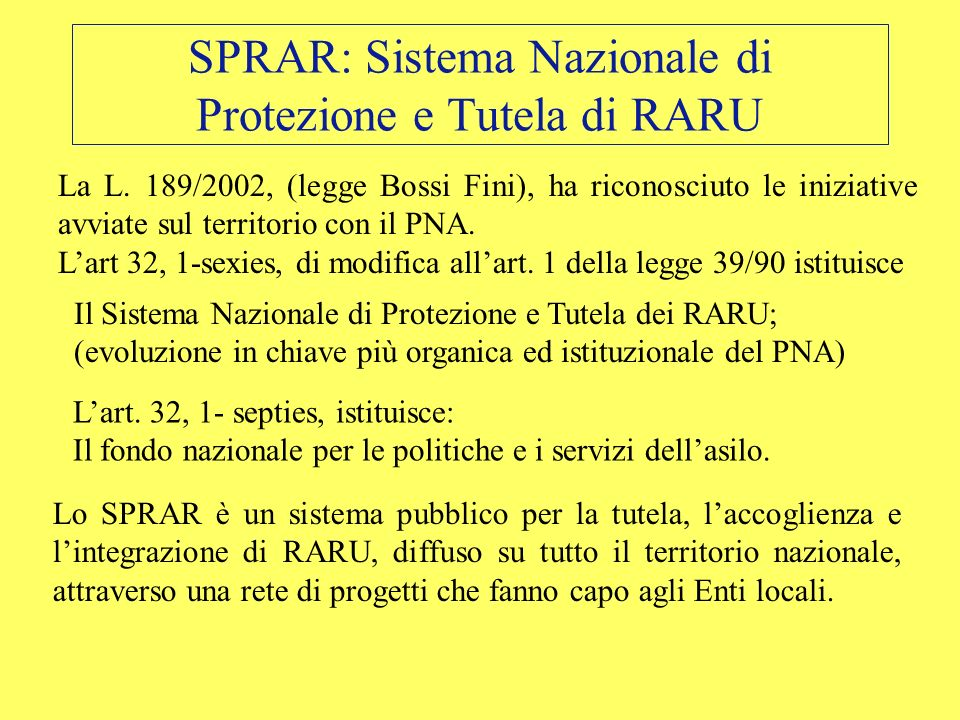 SPRAR: Sistema Nazionale di Protezione e Tutela di RARU