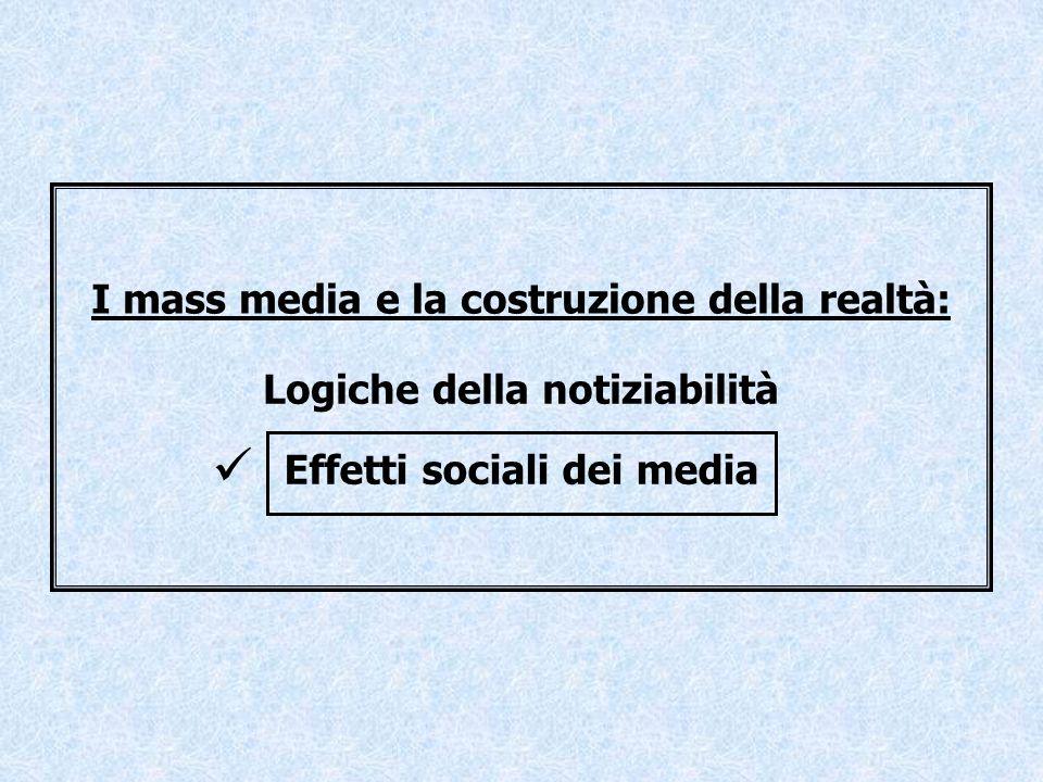 I mass media e la costruzione della realtà: