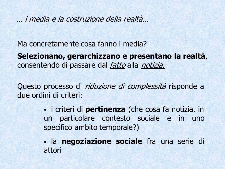 … i media e la costruzione della realtà…