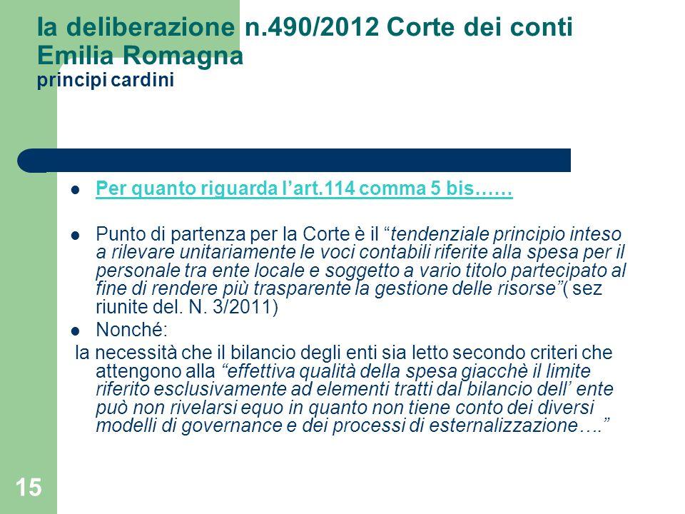 Ia deliberazione n.490/2012 Corte dei conti Emilia Romagna principi cardini