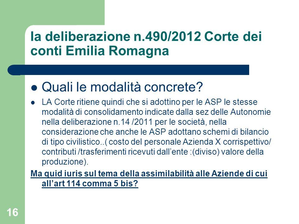 Ia deliberazione n.490/2012 Corte dei conti Emilia Romagna