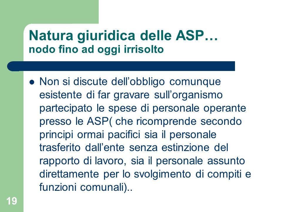 Natura giuridica delle ASP… nodo fino ad oggi irrisolto