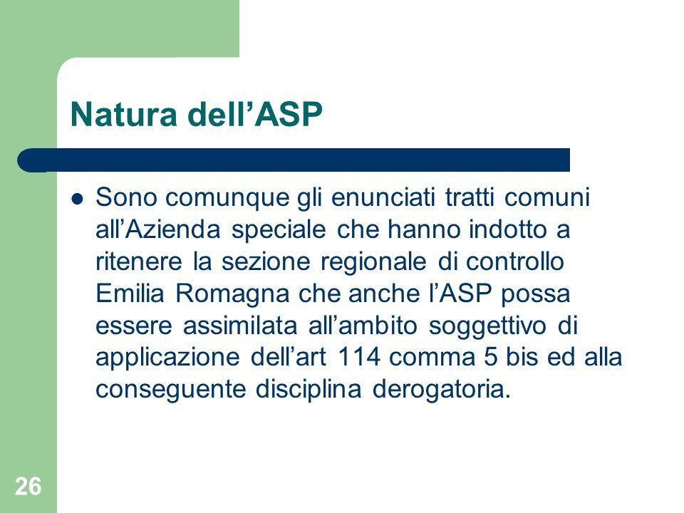 Natura dell'ASP