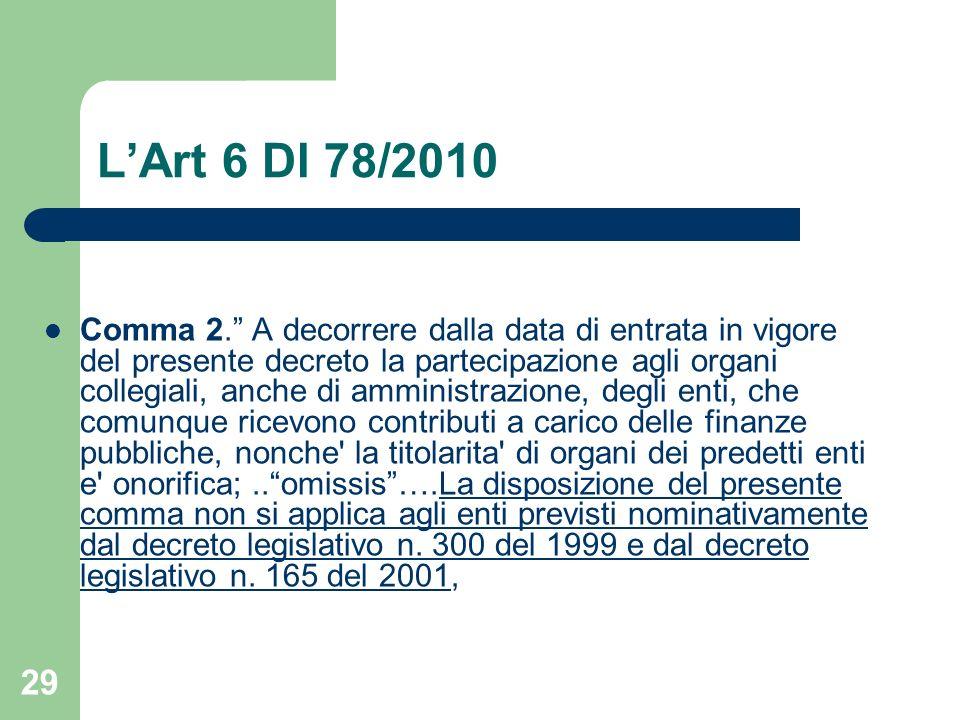 L'Art 6 Dl 78/2010