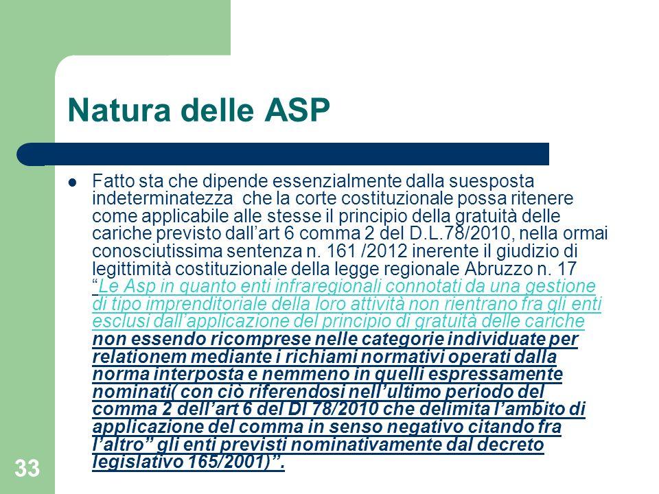 Natura delle ASP