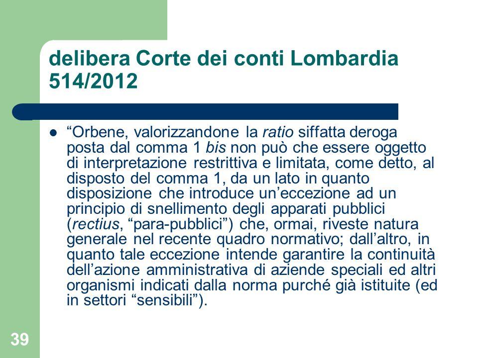 delibera Corte dei conti Lombardia 514/2012