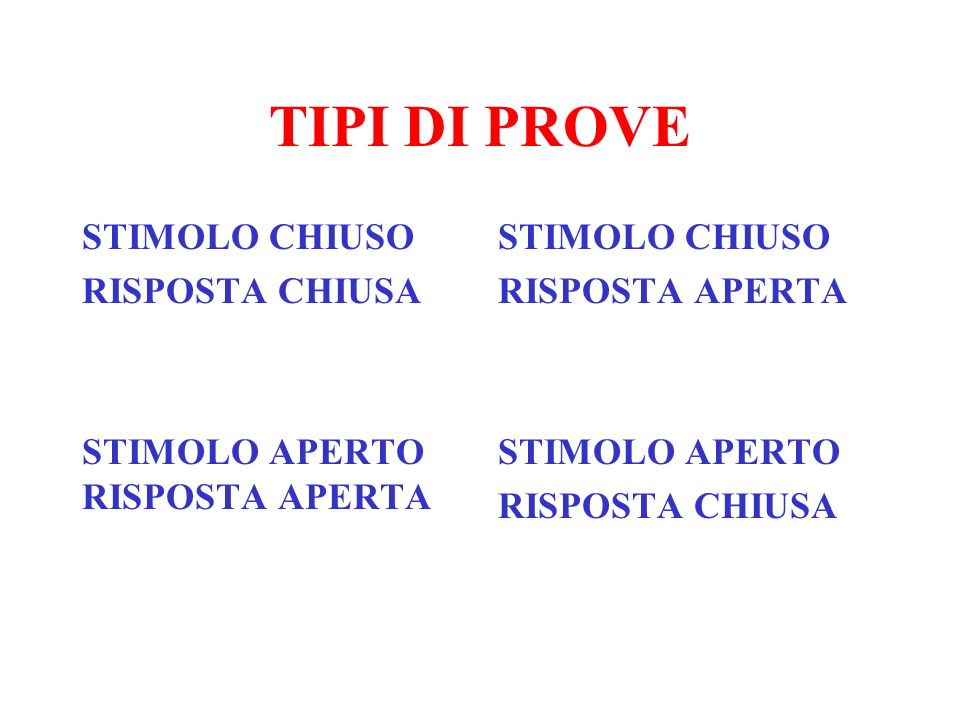 TIPI DI PROVE STIMOLO CHIUSO RISPOSTA CHIUSA