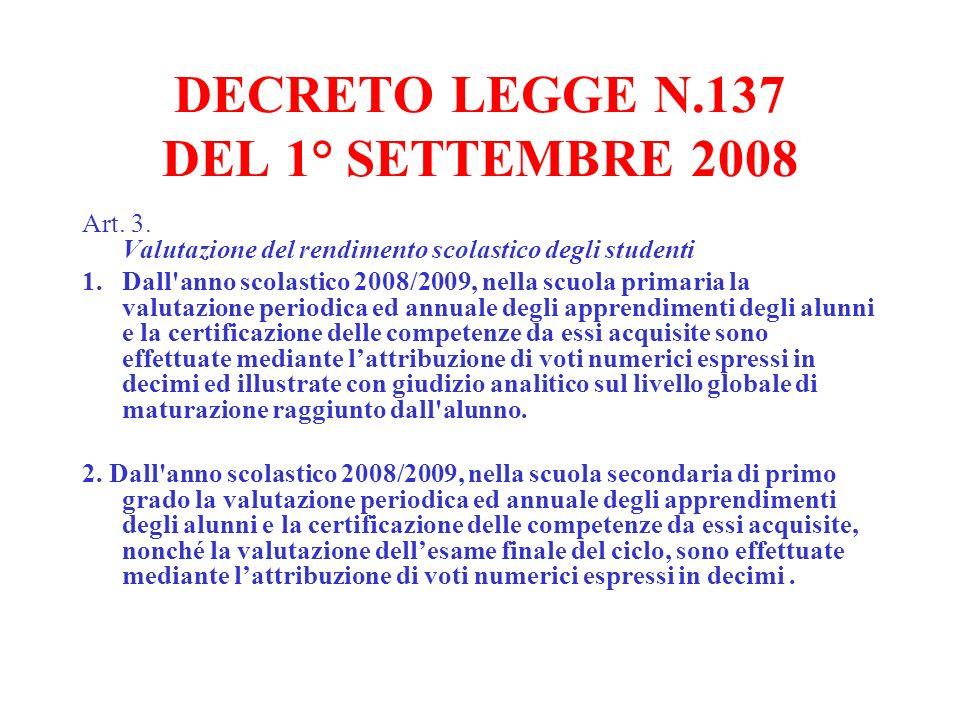 DECRETO LEGGE N.137 DEL 1° SETTEMBRE 2008