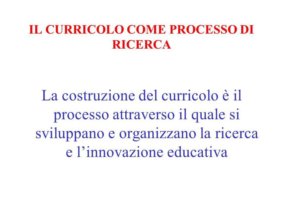 IL CURRICOLO COME PROCESSO DI RICERCA