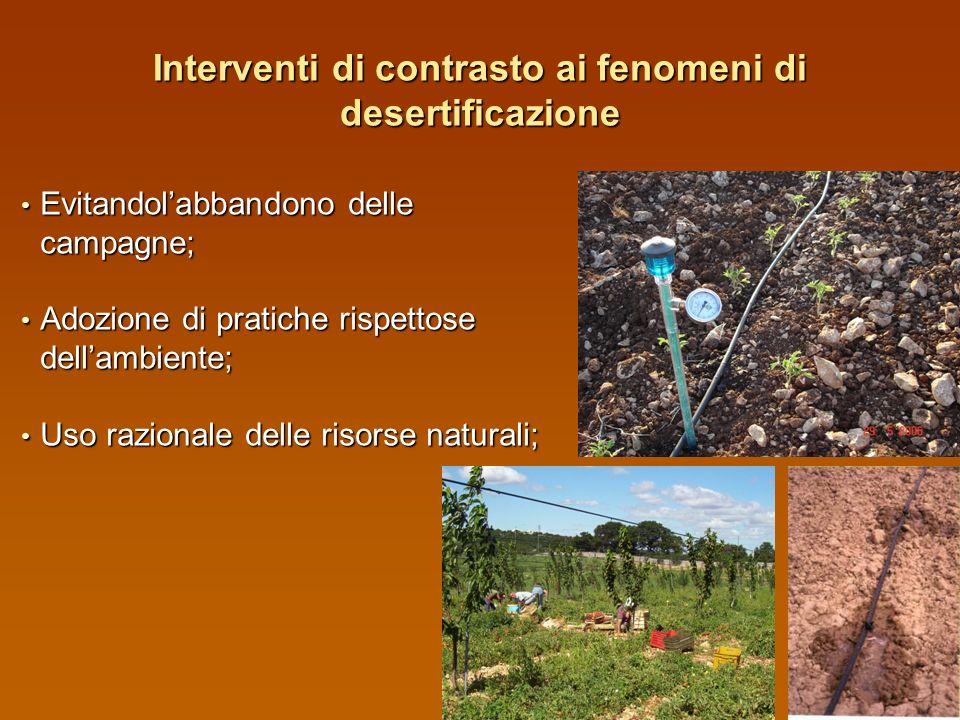Interventi di contrasto ai fenomeni di desertificazione