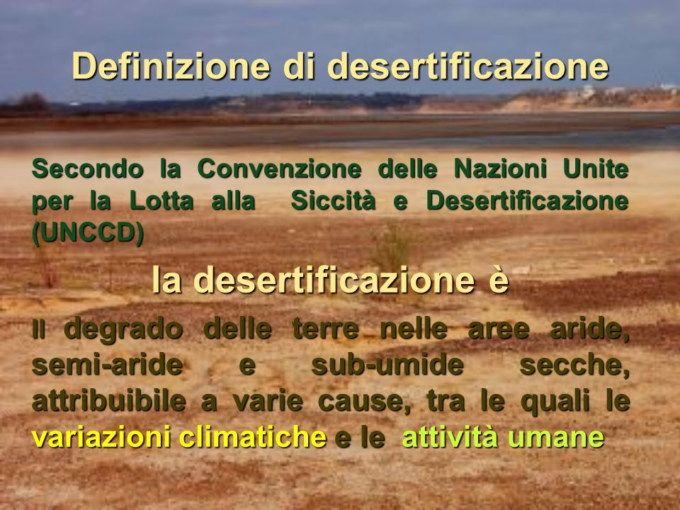 Definizione di desertificazione