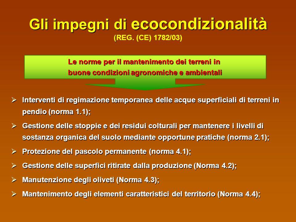 Gli impegni di ecocondizionalità (REG. (CE) 1782/03)
