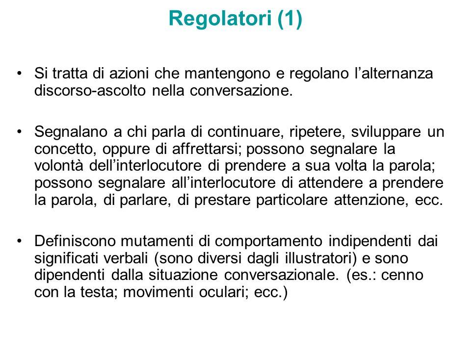 Regolatori (1) Si tratta di azioni che mantengono e regolano l'alternanza discorso-ascolto nella conversazione.