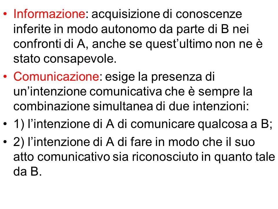 Informazione: acquisizione di conoscenze inferite in modo autonomo da parte di B nei confronti di A, anche se quest'ultimo non ne è stato consapevole.
