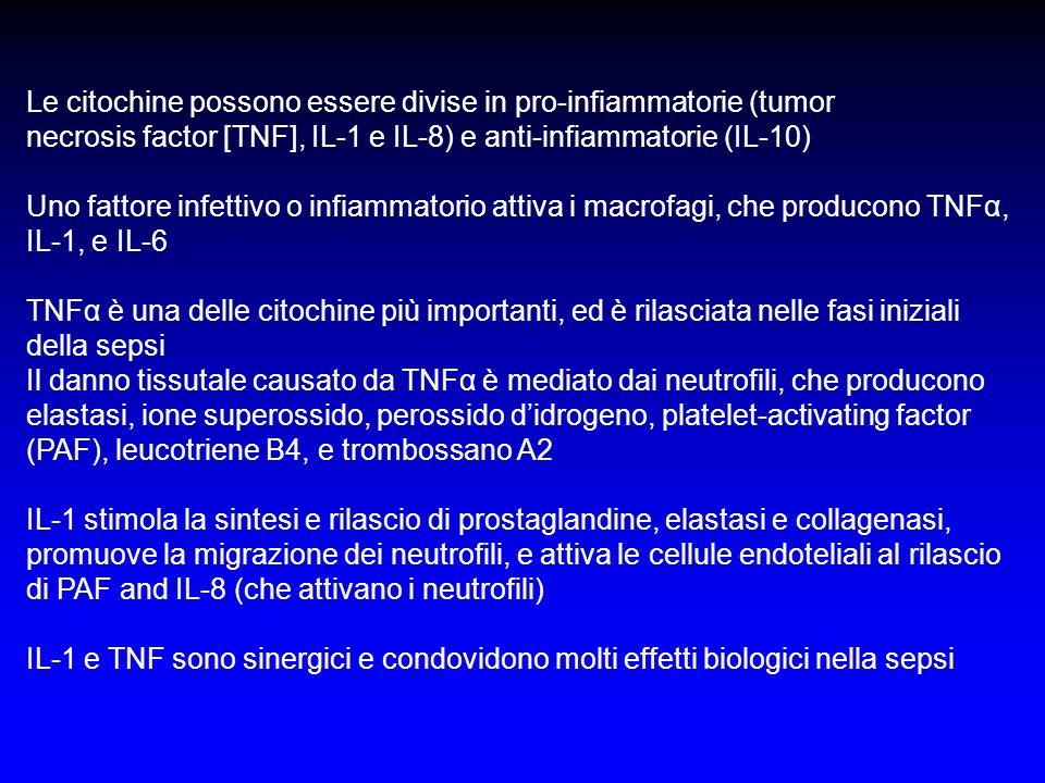 Le citochine possono essere divise in pro-infiammatorie (tumor