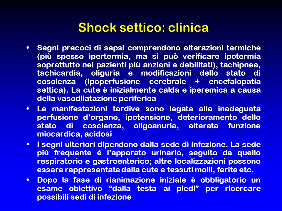 Shock settico: clinica