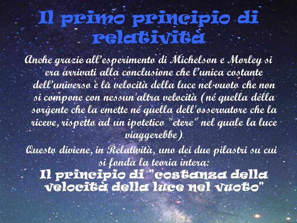 Il primo principio di relatività