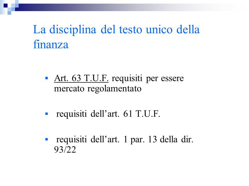 La disciplina del testo unico della finanza