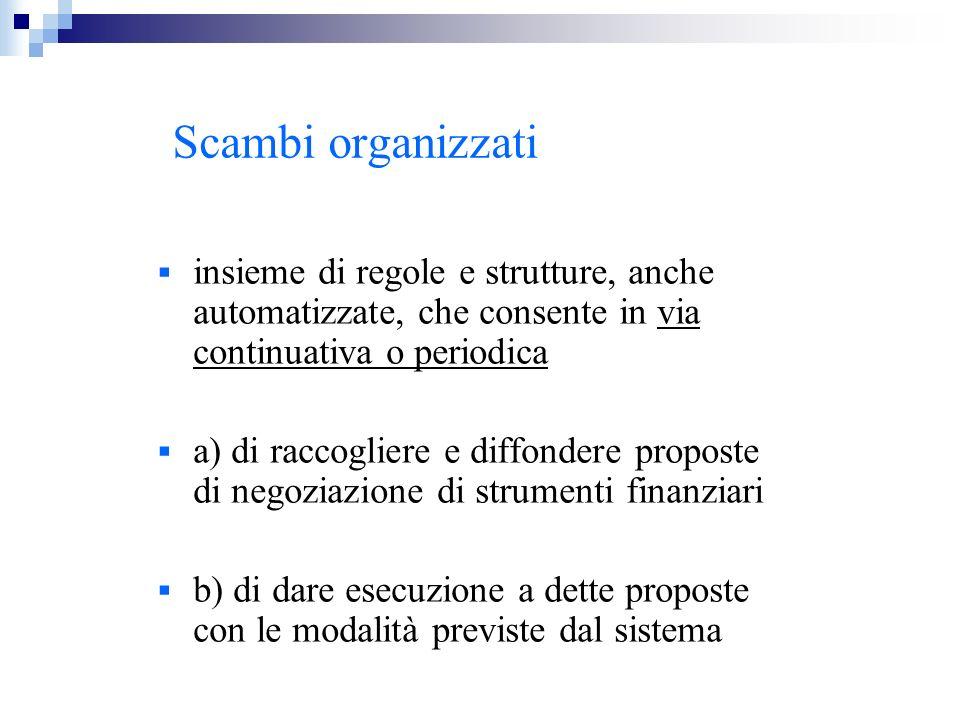 Scambi organizzati insieme di regole e strutture, anche automatizzate, che consente in via continuativa o periodica.