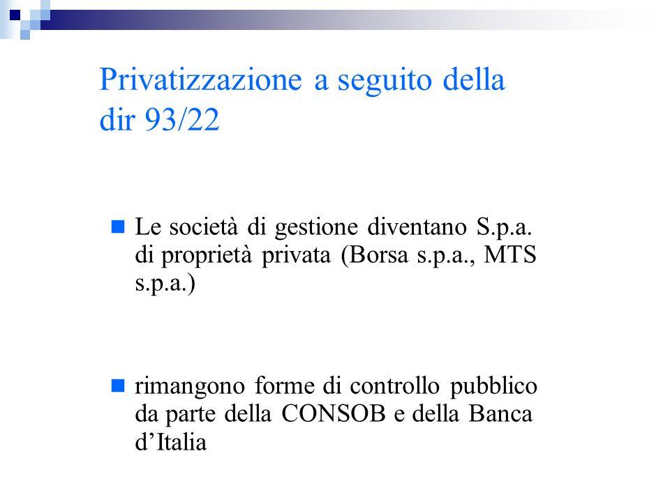 Privatizzazione a seguito della dir 93/22