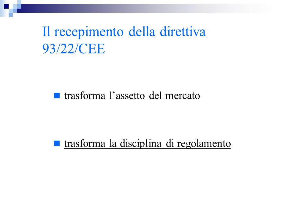 Il recepimento della direttiva 93/22/CEE