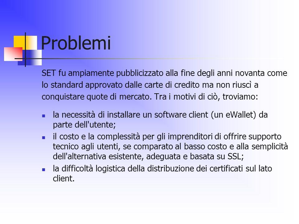 Problemi SET fu ampiamente pubblicizzato alla fine degli anni novanta come. lo standard approvato dalle carte di credito ma non riuscì a.