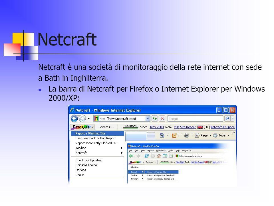 Netcraft Netcraft è una società di monitoraggio della rete internet con sede. a Bath in Inghilterra.