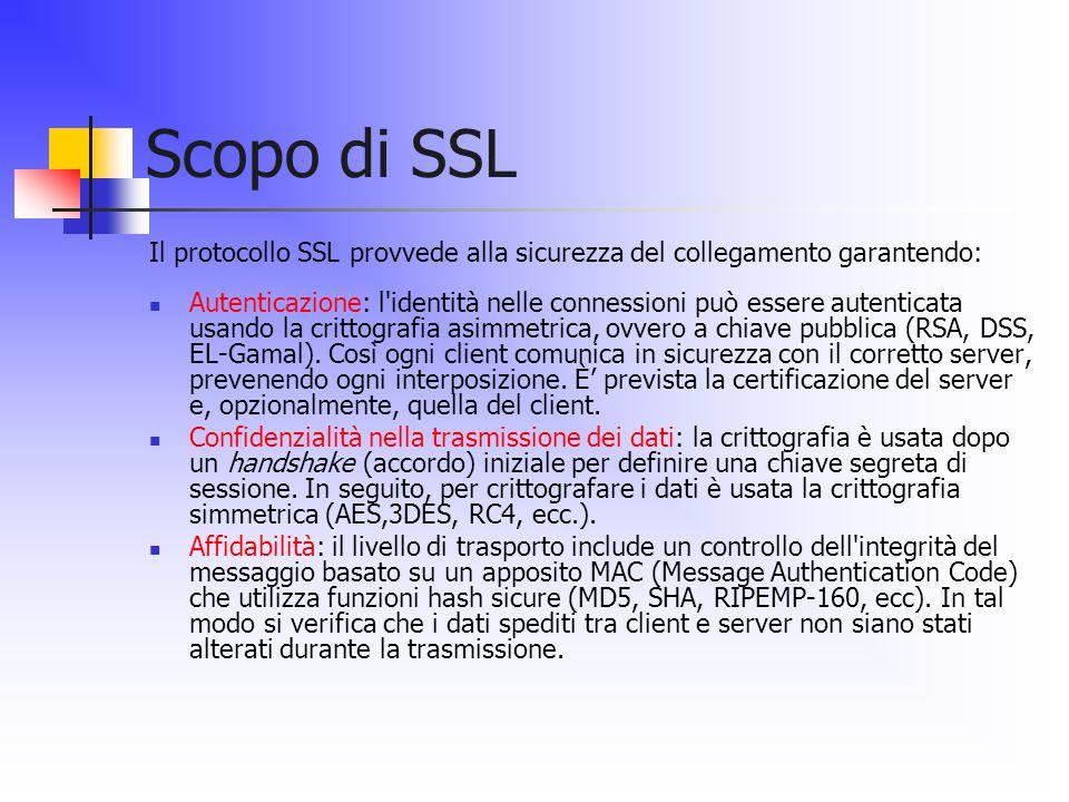 Scopo di SSL Il protocollo SSL provvede alla sicurezza del collegamento garantendo: