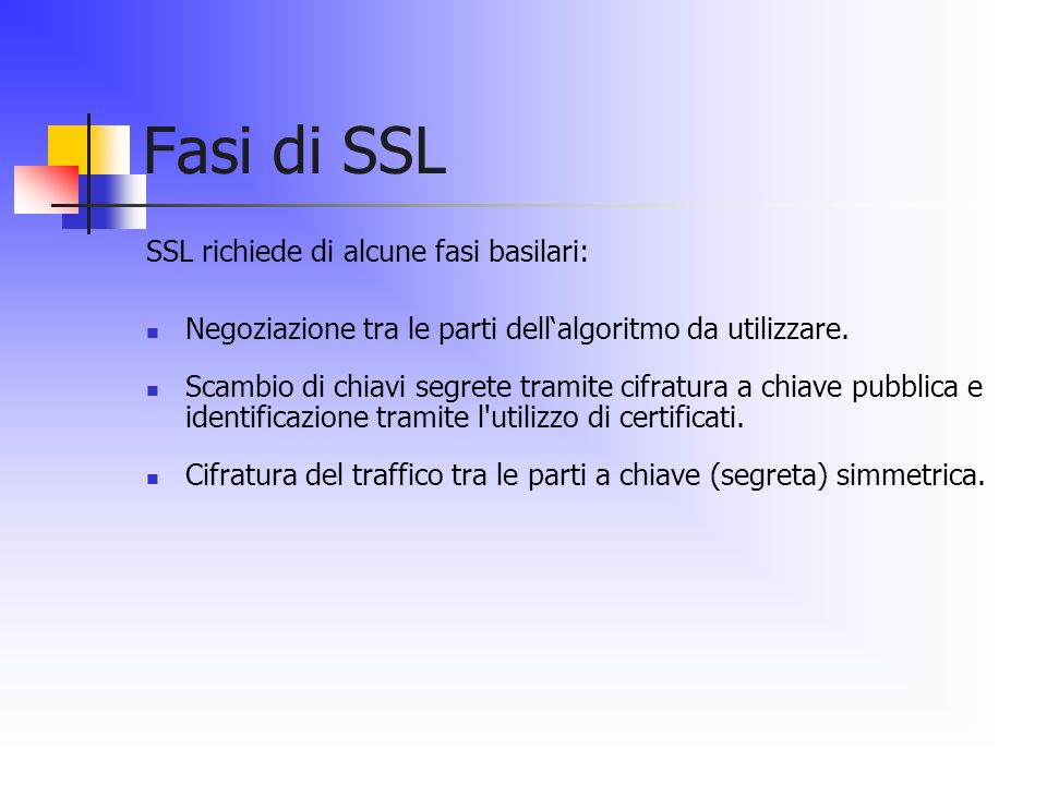 Fasi di SSL SSL richiede di alcune fasi basilari: