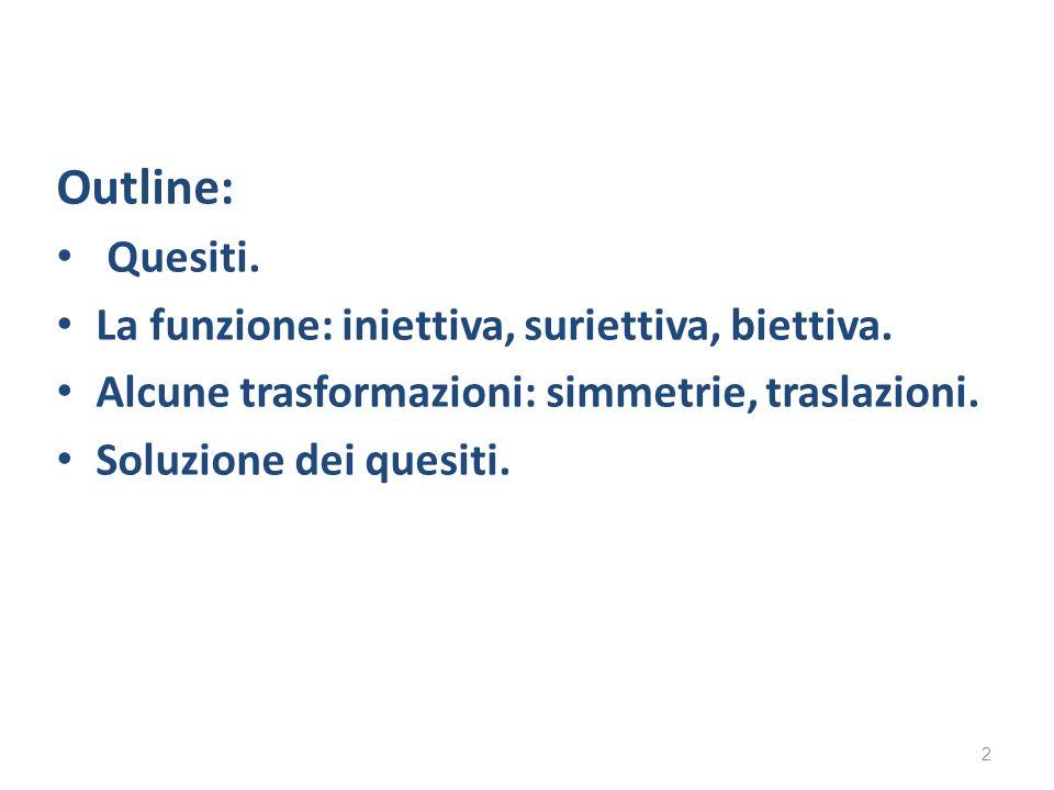 Outline: Quesiti. La funzione: iniettiva, suriettiva, biettiva.