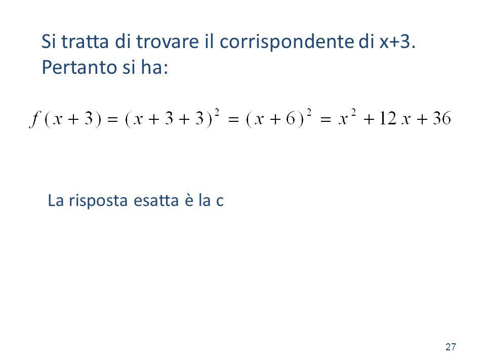 Si tratta di trovare il corrispondente di x+3. Pertanto si ha: